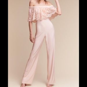 NEW NWT Theia Lace Jumpsuit Pink 0
